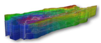 Mapa estratigráfico en tres dimensiones de la cuenca del Navia